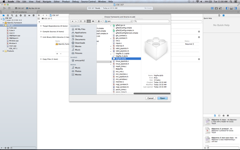 OSX XCode Setup Adding GLFW Library.png
