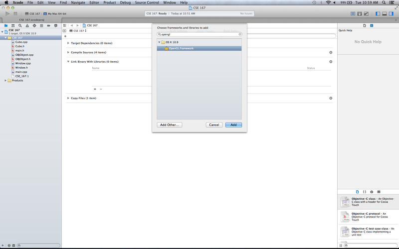 OSX XCode Setup Adding OpenGL Library.png