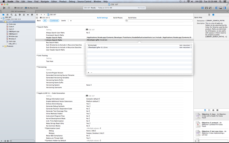 OSX XCode Setup Adding Library Paths.png