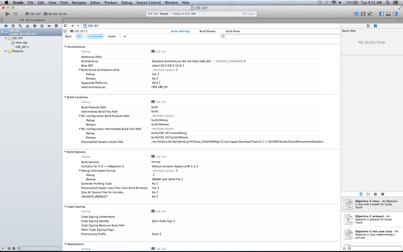 OSX XCode Setup Project Created.png