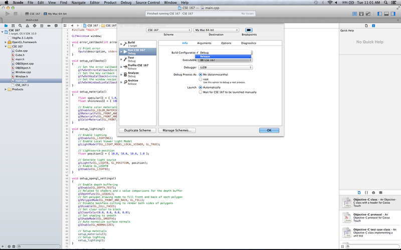 OSX XCode Setup Release Mode.png